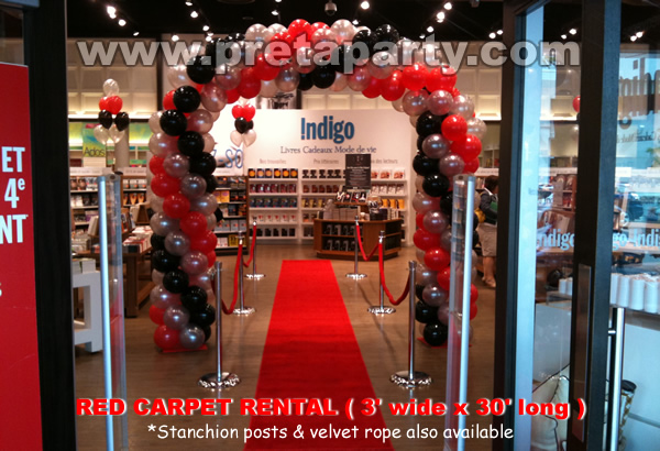Red carpet 3'x30' with stanchion posts and red velour ropes