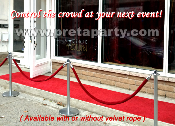 Stanchion posts and red velour ropes from Montreal's Pret-A-Party