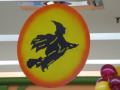 Witch way? The witch way! An eerie silhouette of a flying witch against a bright full moon makes for a great suspendable decoration piece, from Montreal's Pret-A-Party